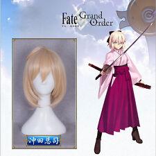 Fate/Zore Full Hair Okita Souji Cosplay Costume Short Curly Nude Pink Braid Wig