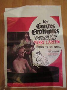 Antiguo-Cartel-de-Cinema-Erotico-Les-Cuentos-Eroticos-Serie-B-Poster