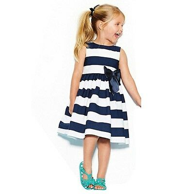 2015 Summer Spring Cute Girl Princess Dress Kids Big Stripe Bow Party Dress New