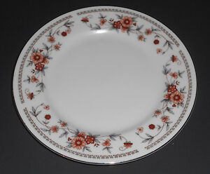 Sheffield-Anniversary-Bread-Butter-Plate-White-with-Rust-Blue-Flowers