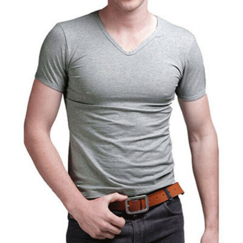 New Men/'s V Neck Tops Tee Shirt Slim Fit Short Sleeve Solid Color Casual T-Shirt