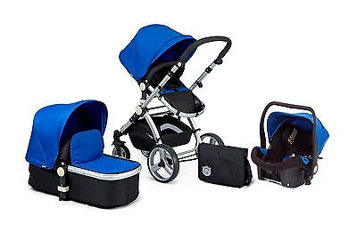 AWARD WINNING BLACK& BLUE CARRERA 3IN1 TRAVEL SYSTEM/PUSHCHAIR & ISOFIX CAR SEAT