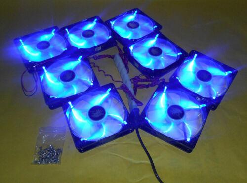 Lot 8 NEW 120mm Quad LED Cooling Fan Array Kit for Open Frame Mining Rig Case