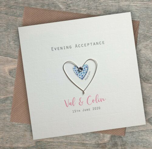 Evening Acceptance Regret Personalised Handmade Wedding Day Acceptance Card