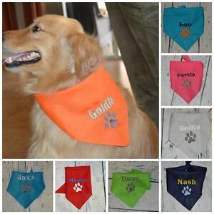 PERSONALIZED-Dog-Bandana-MED-LARGE-Dog-Custom-Pet-Tie-On-Bandana-with-Paw-Print