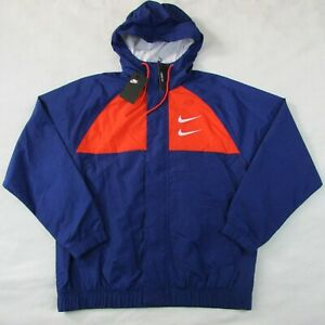 Nike-Men-039-s-Swoosh-Hooded-Woven-Jacket-Loose-Fit-Medium-CJ4888-455-Blue-amp-Red