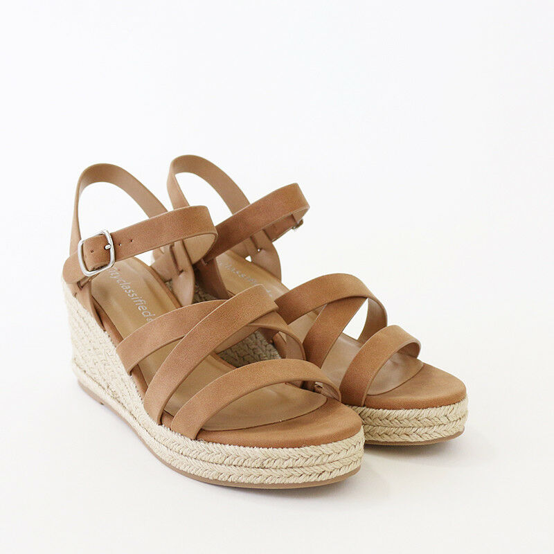 X Band Ankle Strap Wedge Faux NuBuck Espadrille Platform Wedge Strap Sandal Tan be6447