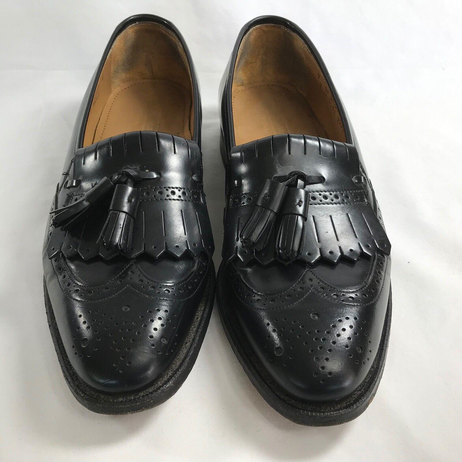 Johnston & Murphy Optima Black Leather Kiltie Tassel Wingtip Loafers Mens US 9