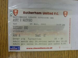 09112002 Ticket Rotherham United v Watford Railway End Visitors Thank you - <span itemprop=availableAtOrFrom>Birmingham, United Kingdom</span> - Returns accepted within 30 days after the item is delivered, if goods not as described. Buyer assumes responibilty for return proof of postage and costs. Most purchases from business s - Birmingham, United Kingdom