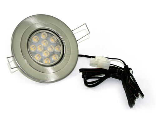 Flache LED Einbauring 12V Eli 3W =25W geringe ET 1,5m Kabel ohne Trafo