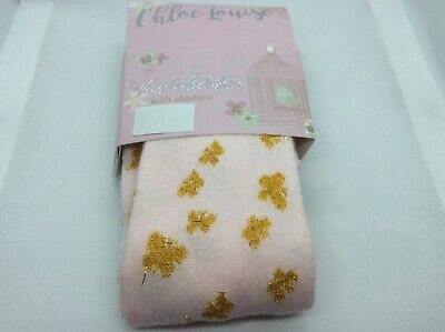 very pretty girls pink tights with sparkly gold butterfly  pattern uk seller