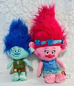 "2016 Trolls Doll DreamWorks Plush Lot 18"" Stuffed Poppy & 16"" Branch Toy Pair"