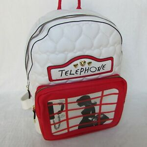 Betsey-Johnson-Telephone-Booth-Backpack-White-Cream-and-Red-Quilted-Heart-NWT