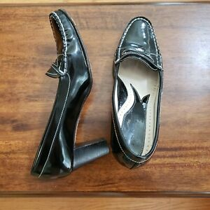 Taryn Rose Patent Leather Heels Penny Loafers Black White ...