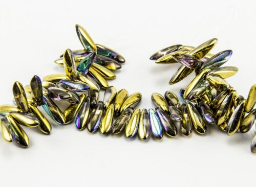 x 3x10mm Czech Dagger Glass Beads on Crystal Pick the Color Full Strand 25