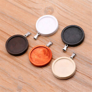 10pcs-Lot-Jewelry-DIY-Pendant-Assorted-Colors-Wood-25mm-Round-Bezel-Tray-Base