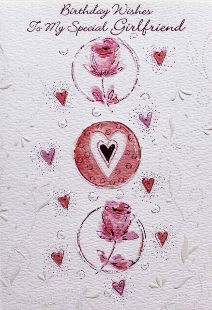 Flowers Hearts Girlfriend Happy Birthday Greetings Cards Best Wishes
