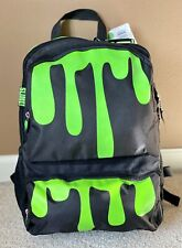 """Nickelodeon Slime Backpack 17/"""" Reflective With Tech Sleeve Black /& Green"""