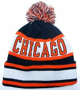 Chicago Navy Blue   White Classic Cuffed POM Ball Knit Hat Cap ... 4de14ca58