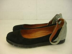 Womens-sz-9-5-M-Gentle-Souls-Bay-Our-Walk-Suede-Leather-Ballet-Flats-Shoes-Black