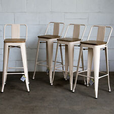 Wondrous Set Of 4 Cream Metal Industrial Bar Stool Breakfast Kitchen Bistro Cafe Vintage Caraccident5 Cool Chair Designs And Ideas Caraccident5Info