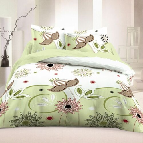 3 Piece Floral Duvet Cover 100/% Cotton Soft Bedding Set Reversible Queen//King