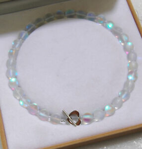 "6//8//10//12mm naturel bleu Gleamy Rainbow Moonstone Round Gems collier 18/"" 光 AAA"