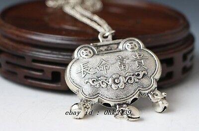 Old China tibet Silver Longevity Lock Pendant necklace