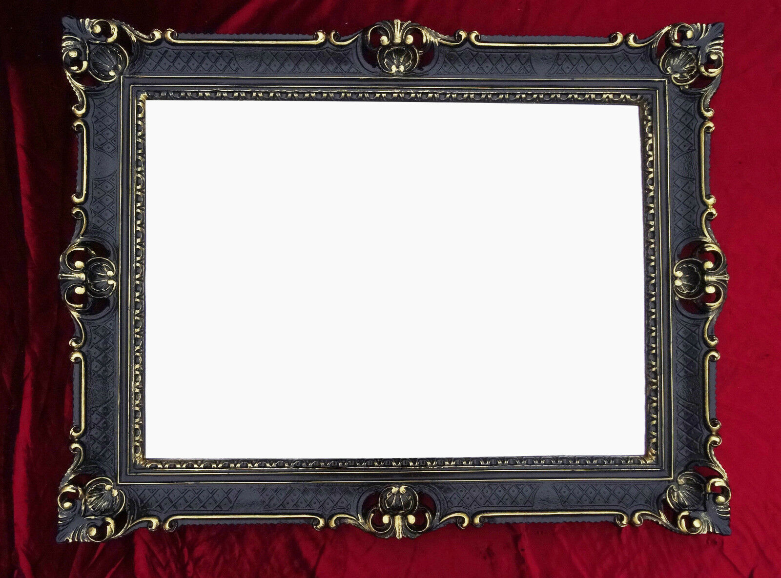 Wall mirror black gold antique baroque rococo 90x70 frame for Miroir 90 x 70