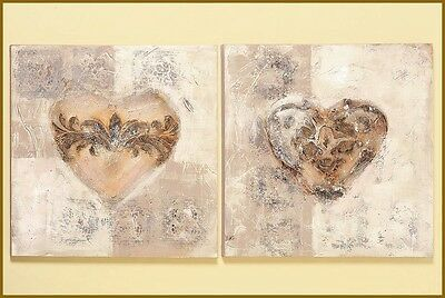 "2-er Set Bilder ""HERZ"" modern Wandbehang Struktur Bild beige-braun 60 x 60 cm"