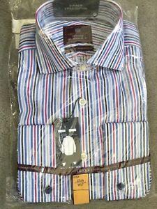 """Blues & Pink Stripes In Superior Cotton-collar 14.5""""-bnwt UnermüDlich M&s Double Cuff Shirt Klassische Hemden"""