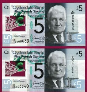 SCOTLAND-Clydesdale-Bank-5-Polymer-UNC-1st-Prefix-PAIR-W-HS-LOW-SERIAL