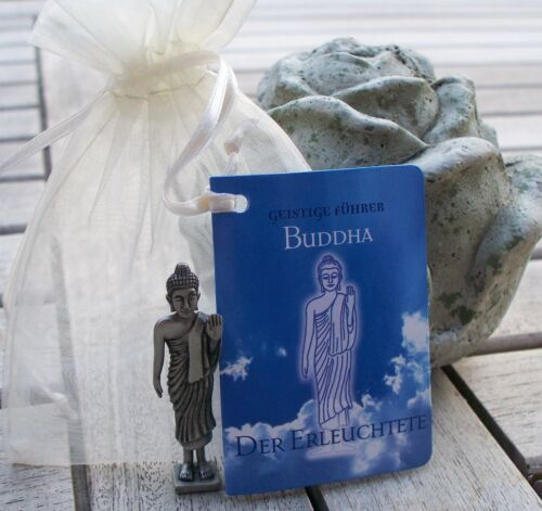 Buddha Figur stehend aus Zinn *Glücksbringer Hand-Amulett* 5cm