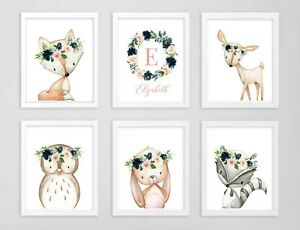 Azul Marino Rosa Woodland Animales Monograma Personalizado Arte Floral vivero Set 6 623-A