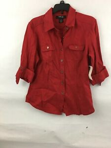 de4eb8e68583d NWT Women s MACY S STYLE   CO 100% Linen Roll Tab Sleeve Red SPRING ...