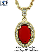 Brand Micro Pave Rhodium Gold Ruby Pendant Chain Necklace Hip Hop Jewelry