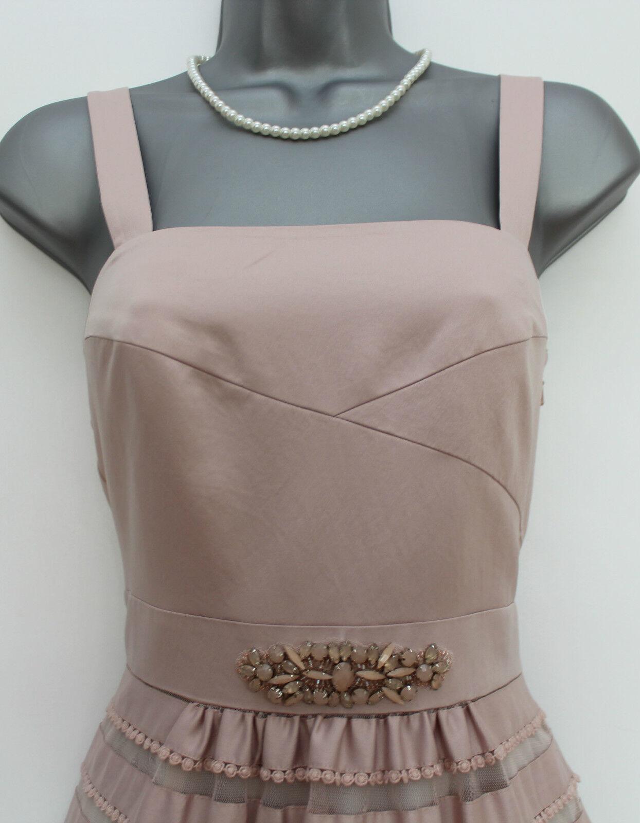 MONSOON Nude Nude Nude Soft Peach Lily Impreziosito Girovita Party Cocktail Dress 12 bf160b