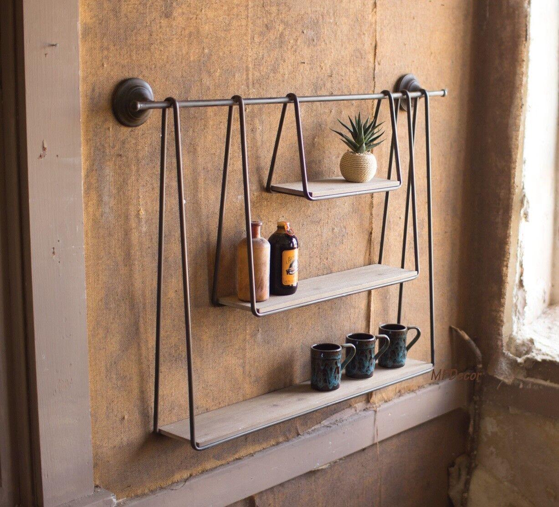Urban Wood Metal Triple Hanging Wall Shelves Shelf Rustic Cottage Home Decor