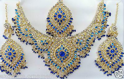 B-7010 Indian Bollywood Costume Kundan Diamante Necklace Set Fashion Jewelry