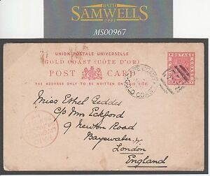 MS967 1897 GOLD COAST STATIONERY *Cape Coast Castle*Card GB via Liverpool Packet