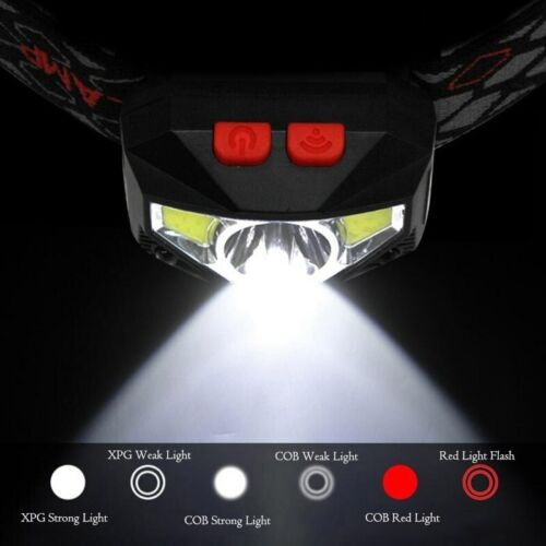 USB Rechargeable COB LED HeadLamp Motion Sensor head lamp headlight Head Torch