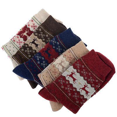 2014 Christmas Gift Snowflake Deer Women Wool Socks Warm Winter Sock Comfortable