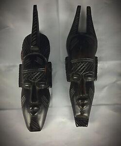 Ensemble 2 statuettes masques sculptés sur ébène art populaire Africain vintage