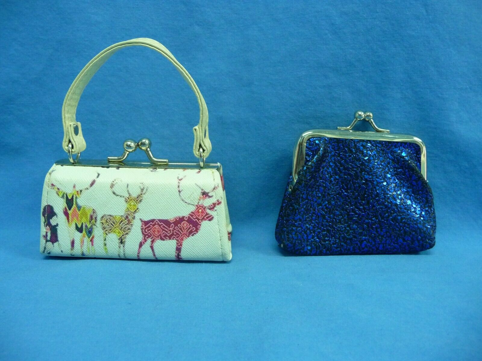 Lot of 2 Coin Purses 1 Purse Shaped With Wildlife Print 1 Glittery Blue