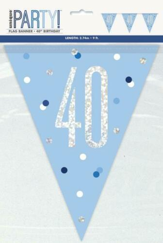 Happy 40th Birthday PINK GLITZ AGE 40 Banners /& Decorations Party Range