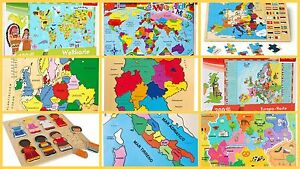 Wooden puzzles world map flags globe geography german children kids la imagen se est cargando de madera rompecabezas mapamundi banderas globo geografia aleman gumiabroncs Choice Image