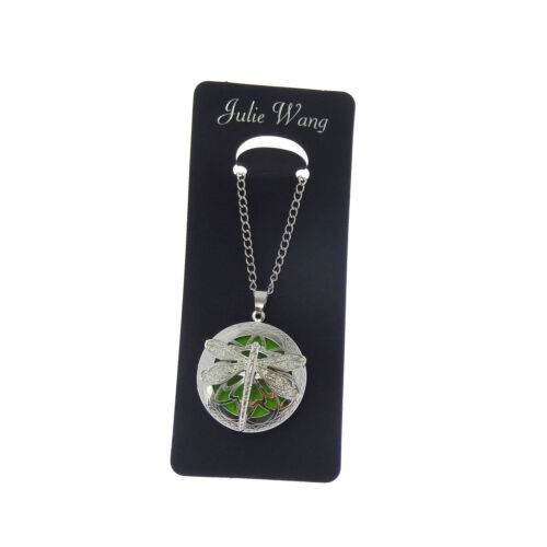 1 pc Silver Tone Metal Dragonfly Locket Pendant Jewelry Essential Oil Diffuser