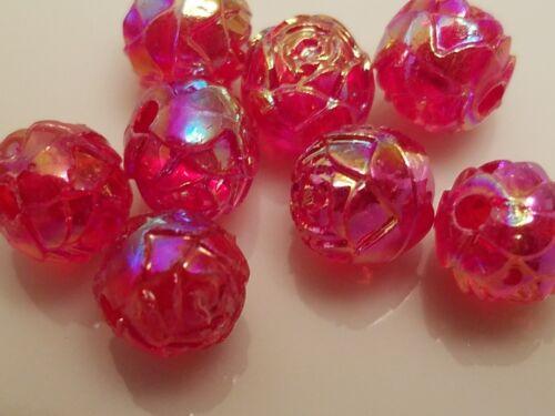 Vintage Rosebud Red Raspberry AB brillo plástico Lucite granos 8 mm Pack 144 PC