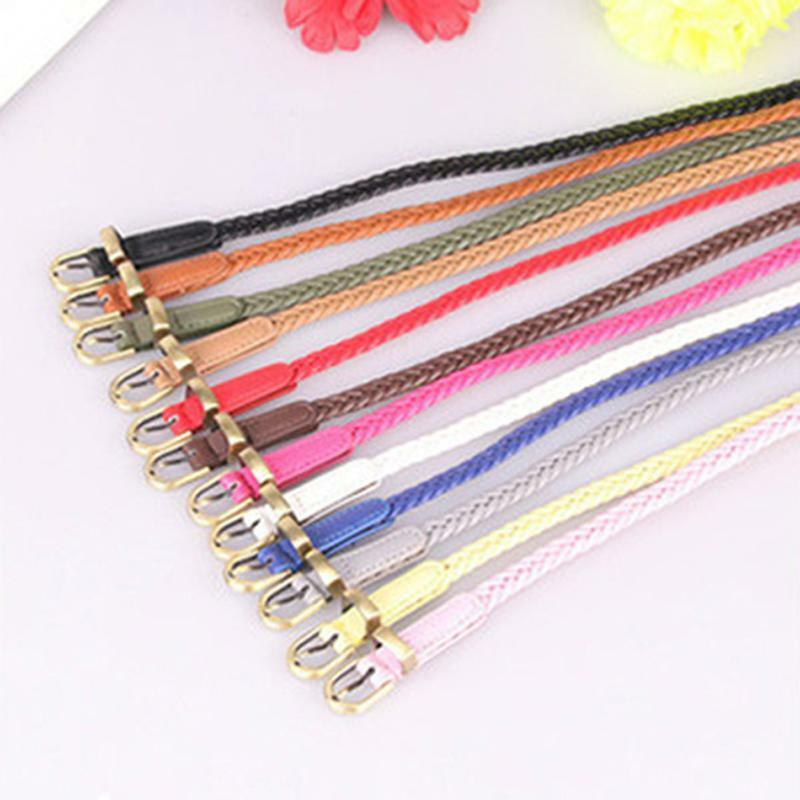 Women Ladies Slim Fashion Waist Belt Dress Access Thin Shiny Skinny PU Belt LC