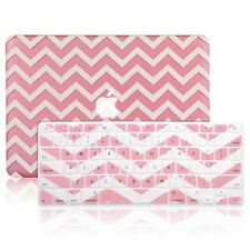 "Matte Chevron Pink Hard Case + Keyboard Cover Skin for Macbook Pro 13"" A1278"
